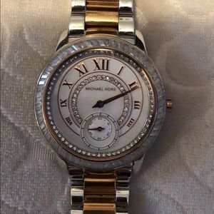 Micheal kors two tone watch with pearl inner face